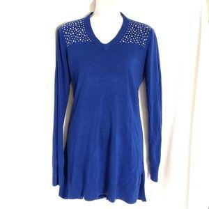 Royal Blue rhinestone accent tunic sweater